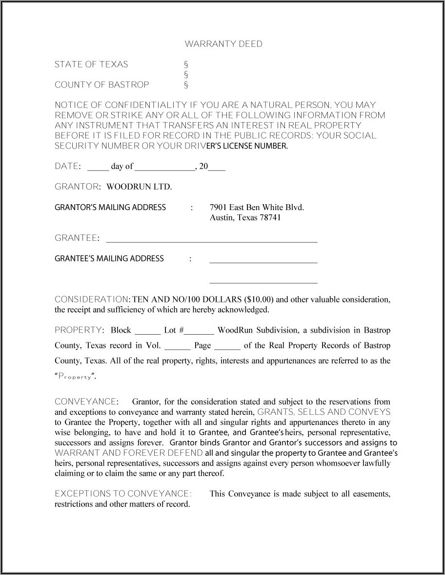 Free Texas Warranty Deed Transfer Form