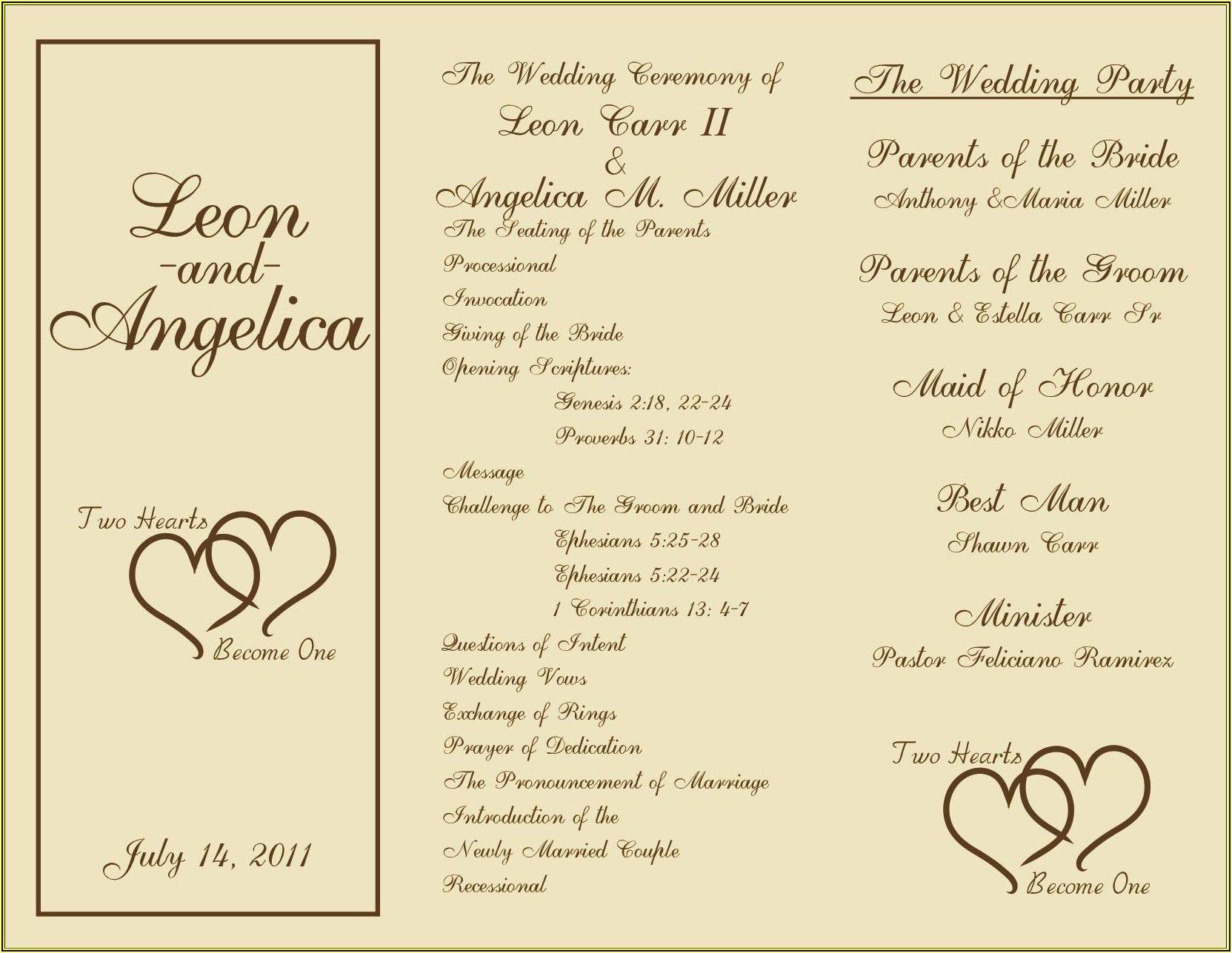Free Tri Fold Wedding Program Templates For Microsoft Word