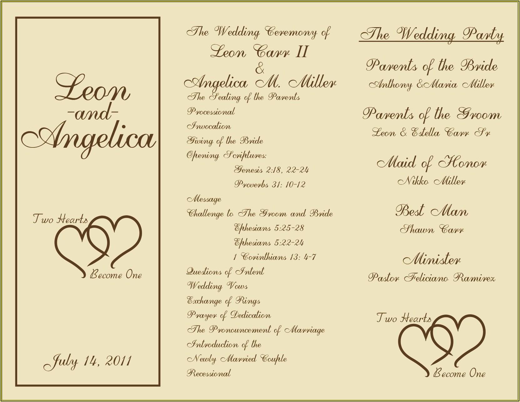 Free Tri Fold Wedding Program Templates For Microsoft Word