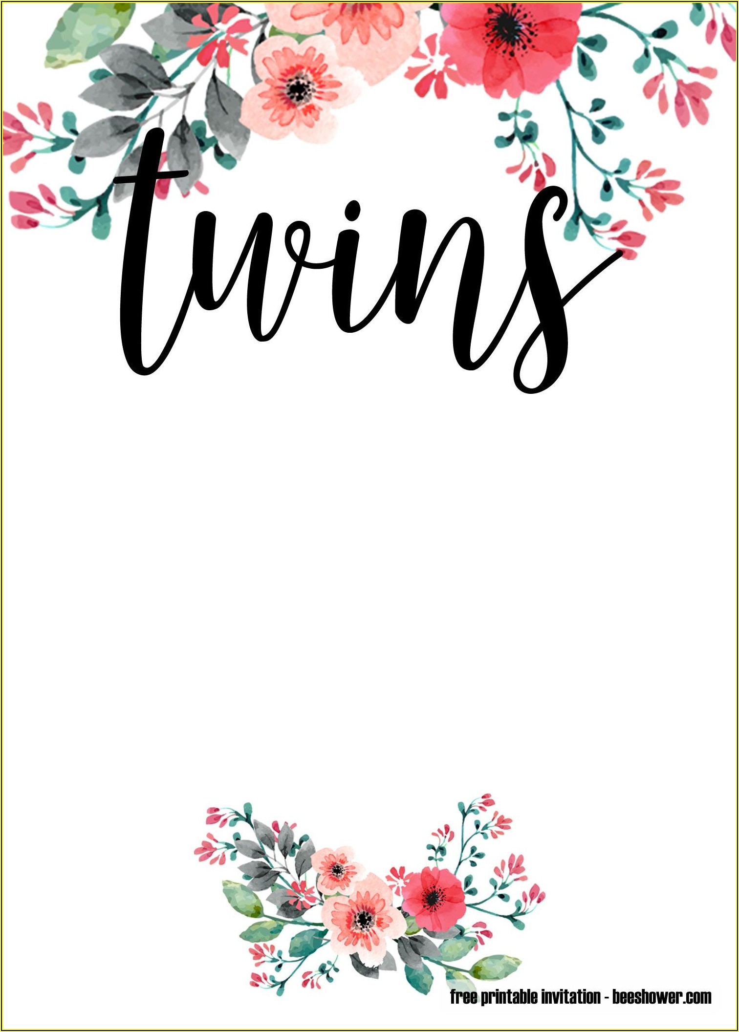 Free Twin Baby Shower Invitation Templates For Word