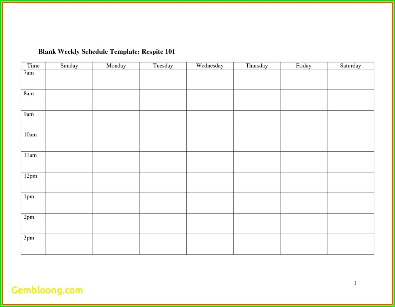 Free Work Schedule Template Monthly
