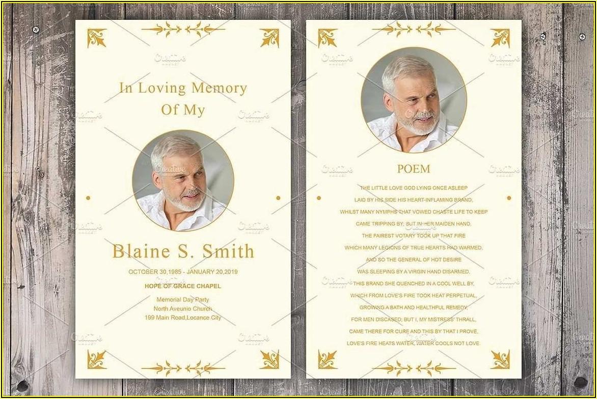 Funeral Memorial Prayer Cards Template