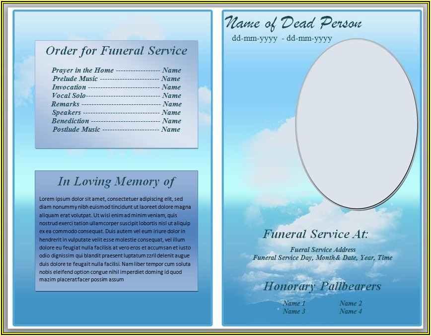 Funeral Program Template Free
