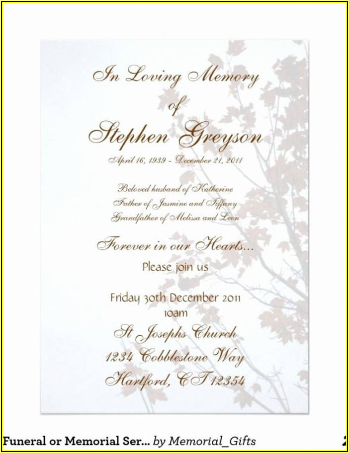 Funeral Service Invitation Template Free