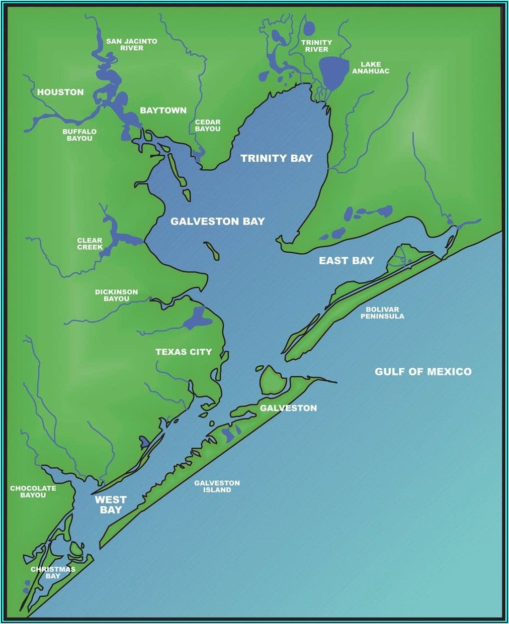 Galveston Bay Fishing Map Online
