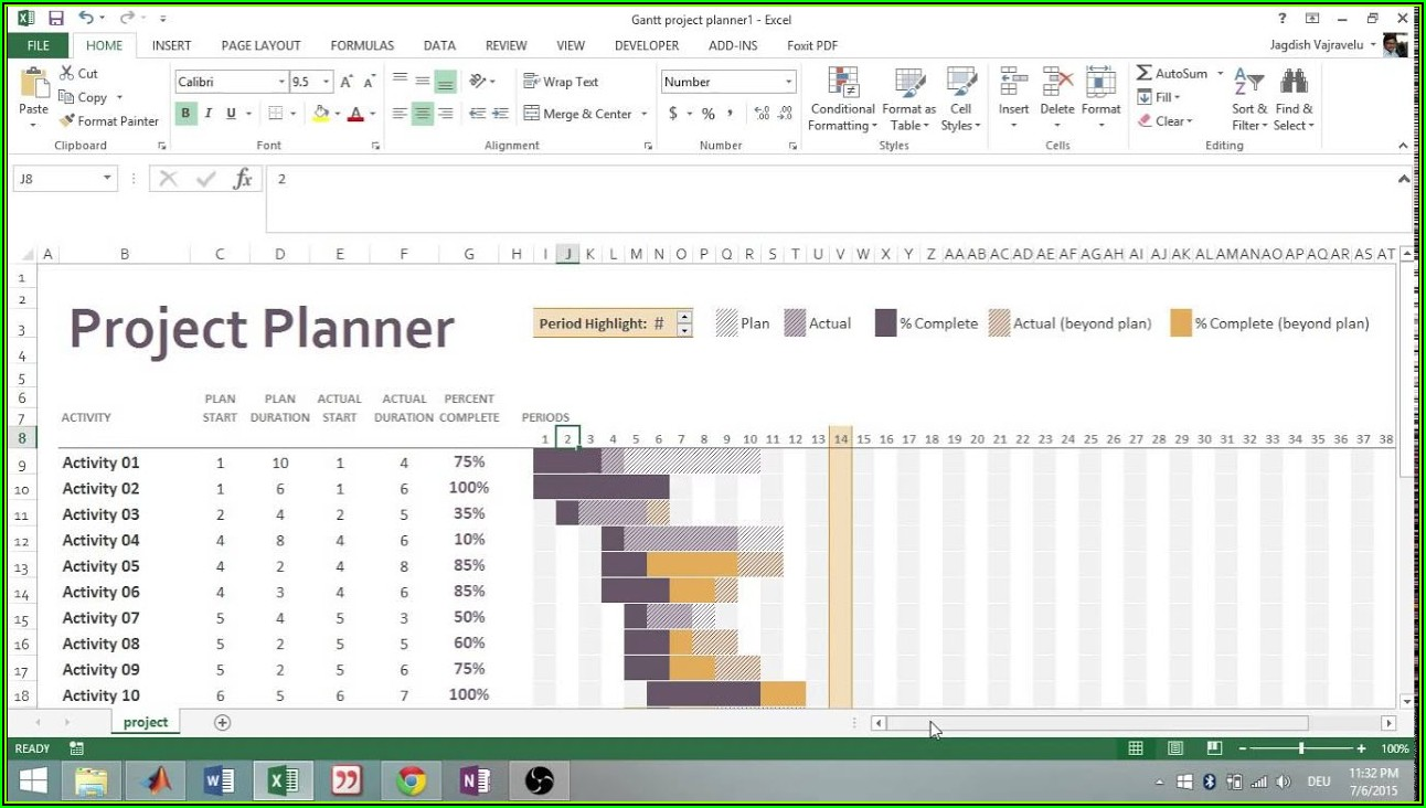 Gantt Project Planner Template Excel 2010