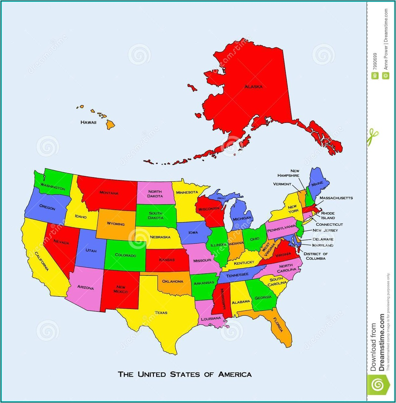 Geographical Map Of The United States Of America