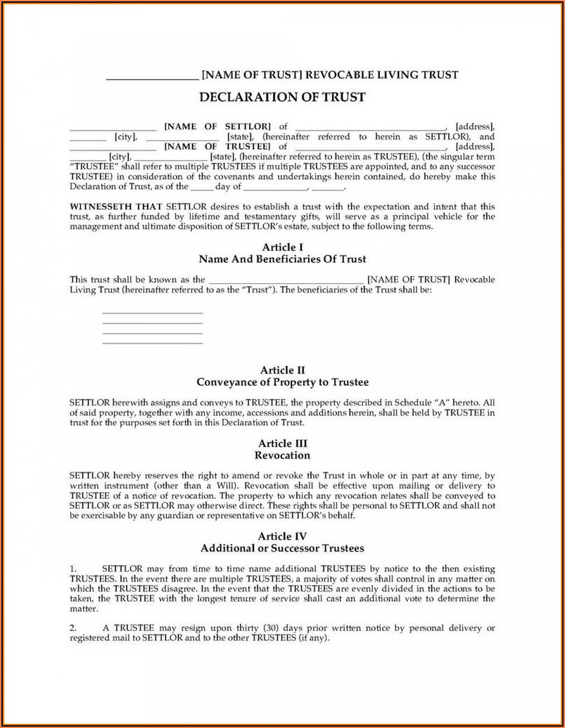Georgia Revocable Living Trust Forms