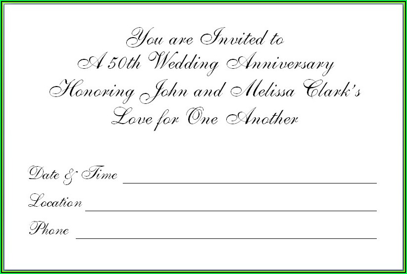 Golden Wedding Anniversary Invitation Templates Free