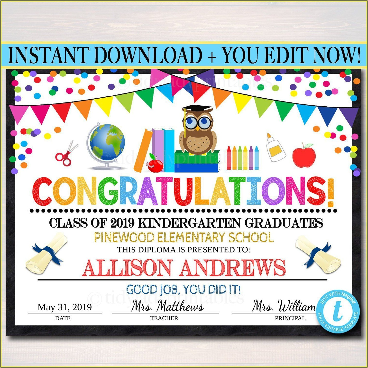Graduation Certificate Template For Elementary School