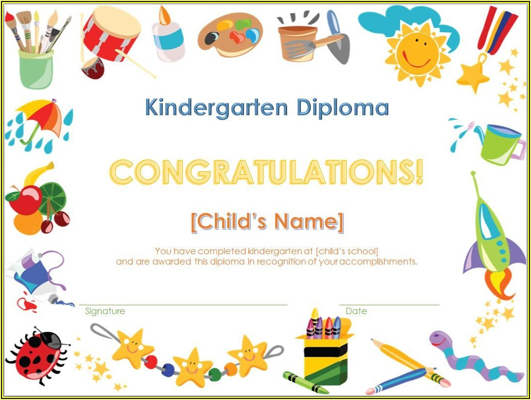 Graduation Certificates Templates For Kindergarten