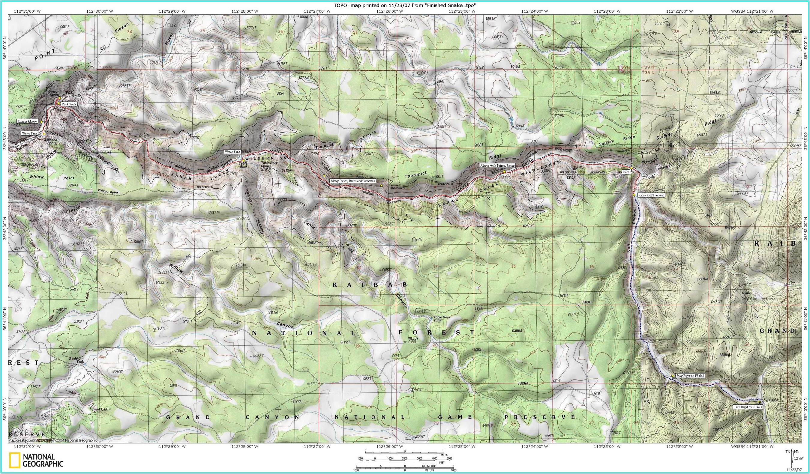 Grand Canyon Rim To Rim Topo Map