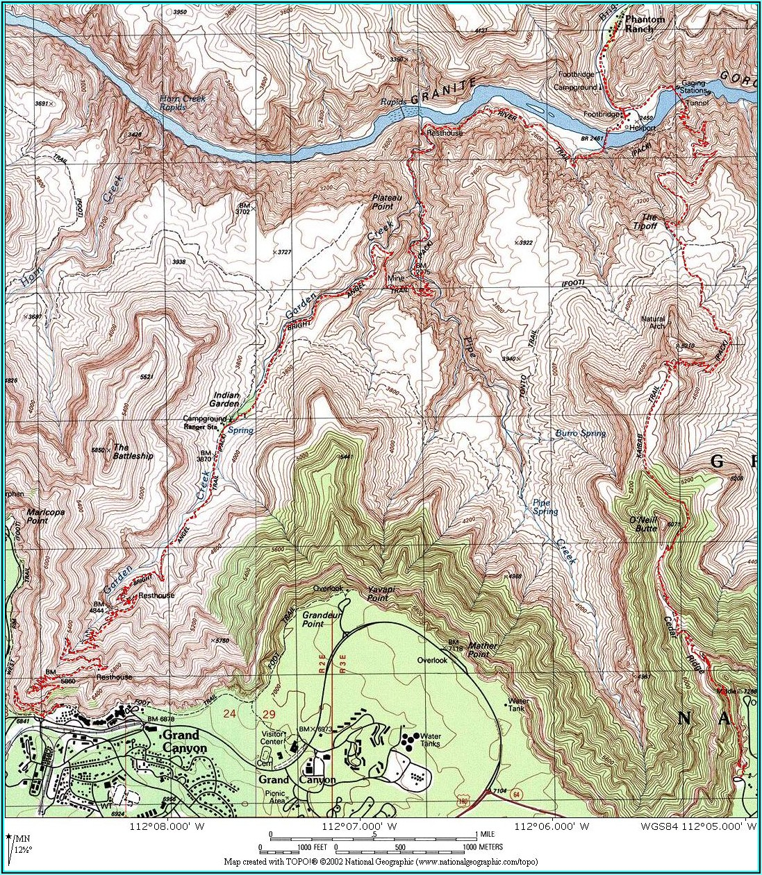 Grand Canyon South Rim Topo Map