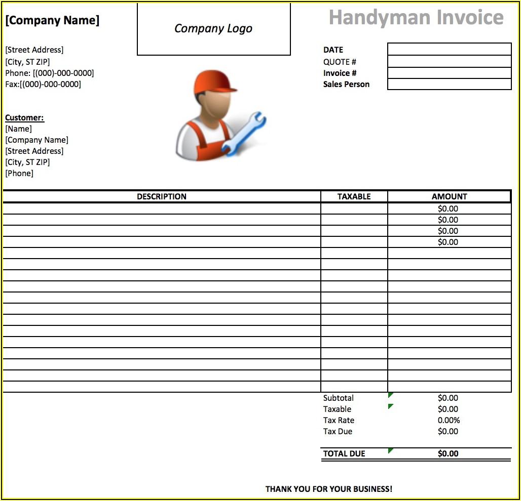 Handyman Invoice Example