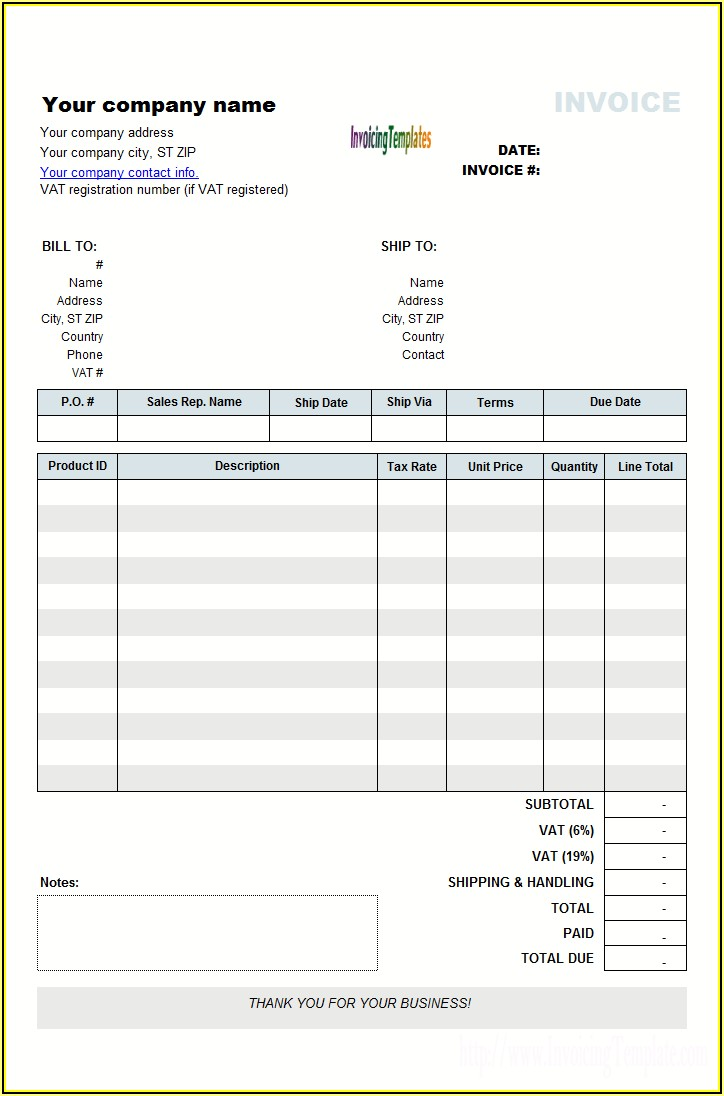 Handyman Invoice Template Uk