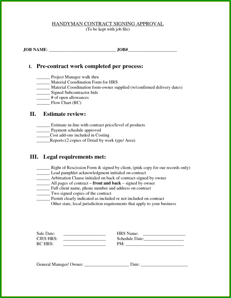 Handyman Service Contract Template