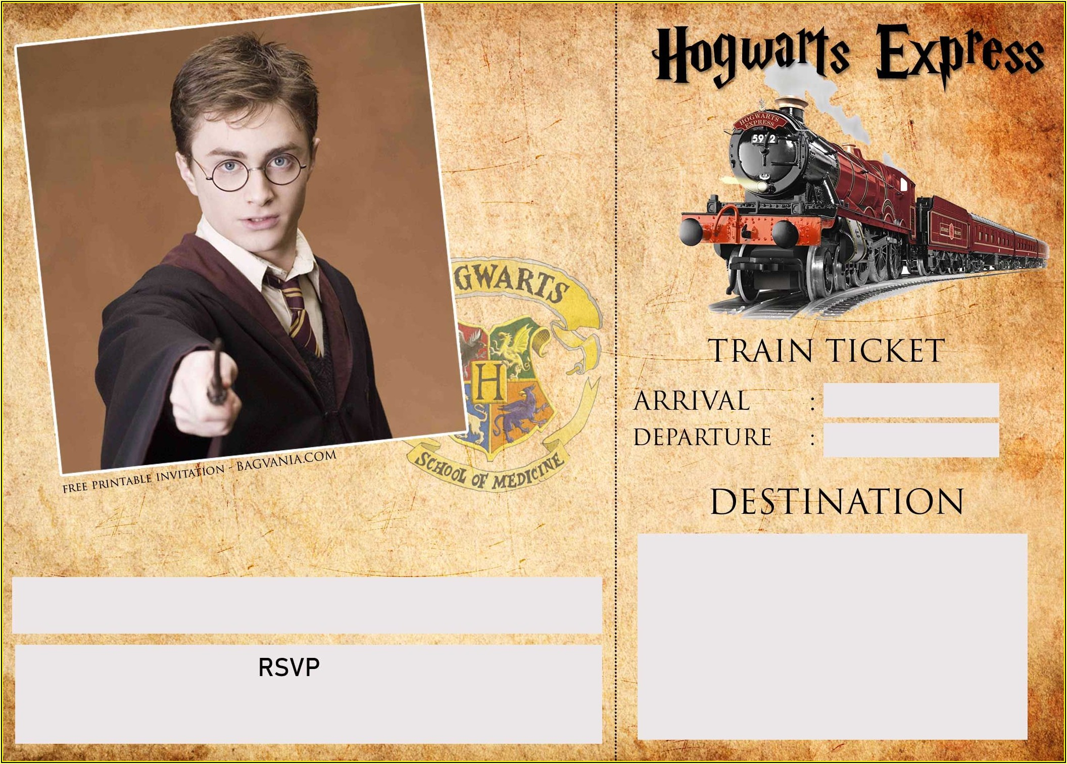 Harry Potter Birthday Party Invitation Template Free