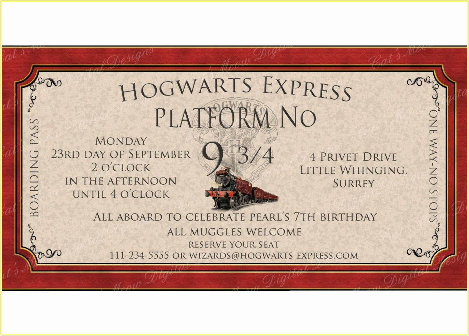 Harry Potter Birthday Party Invitation Template
