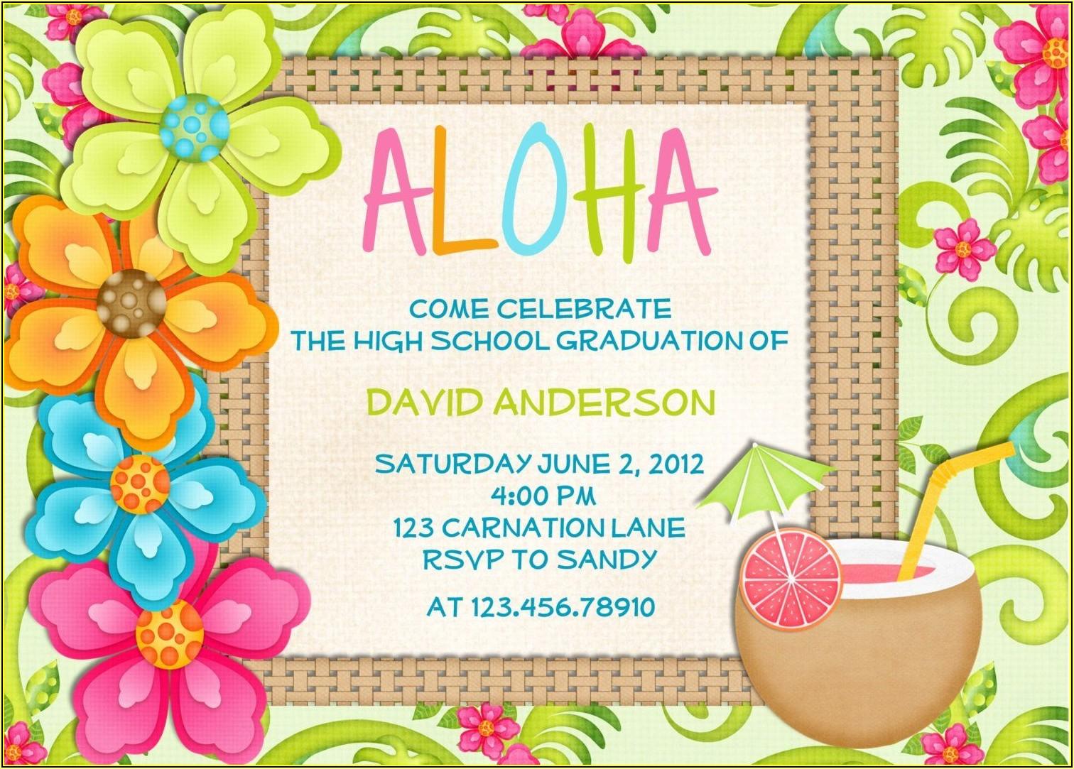 Hawaiian Birthday Invitations Templates Free