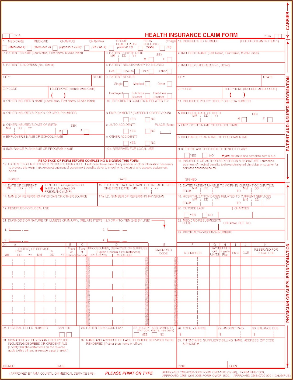 Health Insurance Claim Form 1500 Fillable Free