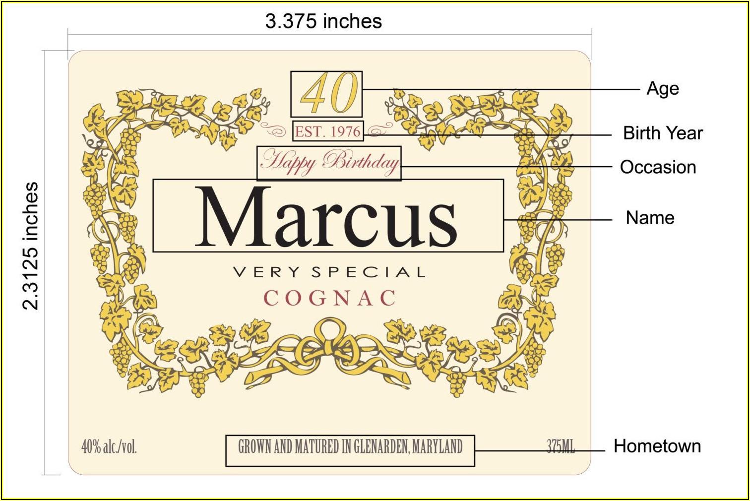 Hennessy Bottle Label Printable