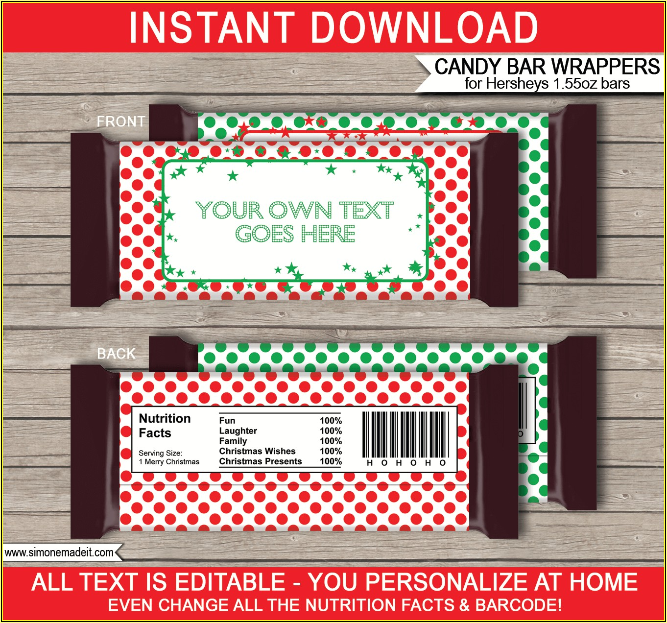 Hershey Candy Bar Wrapper Template Christmas
