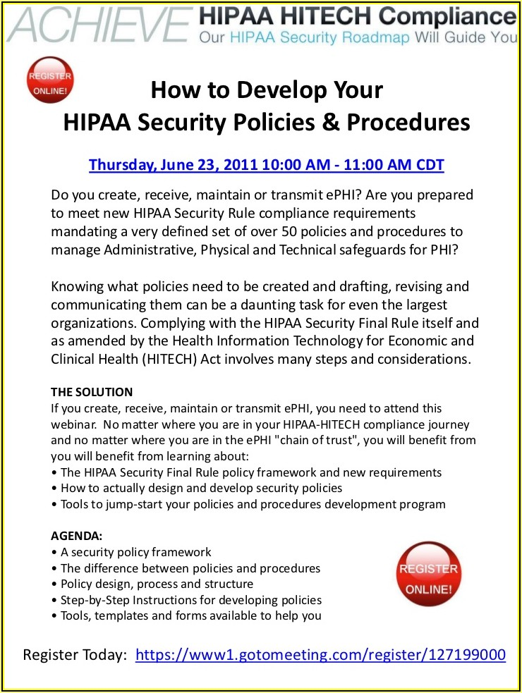 Hipaa Hitech Policies And Procedures Templates
