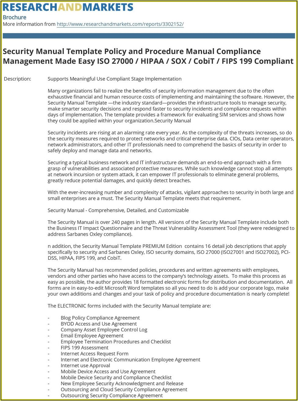 Hipaa Policy And Procedure Manual Template 2019