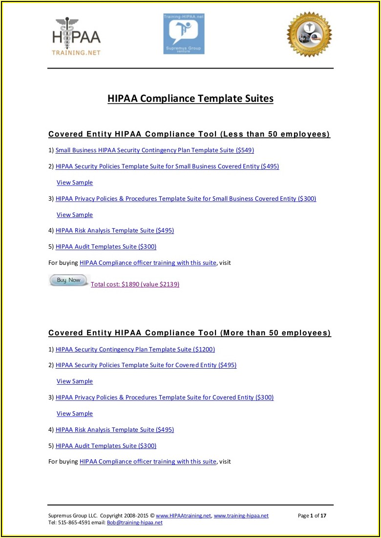 Hipaa Security Policy And Procedures Templates