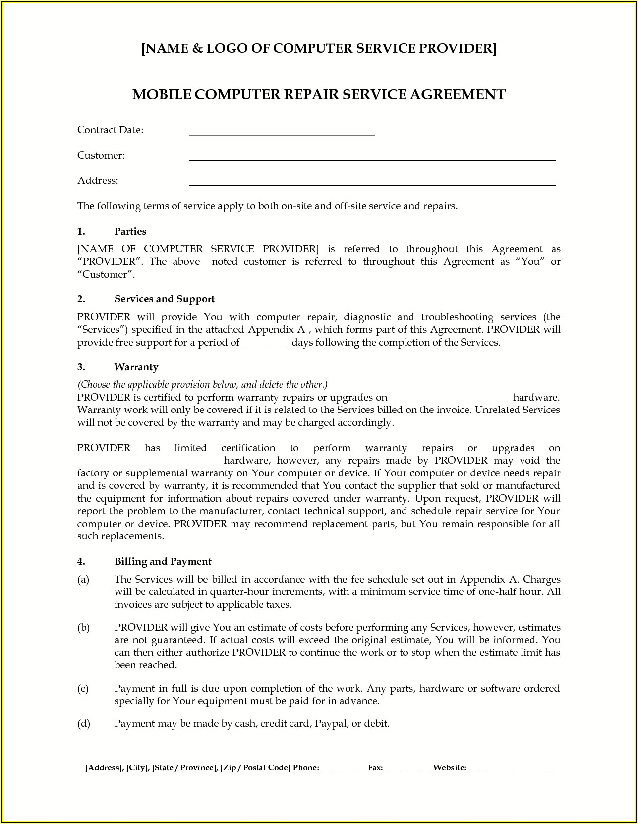 Home Improvement Contract Template New Jersey