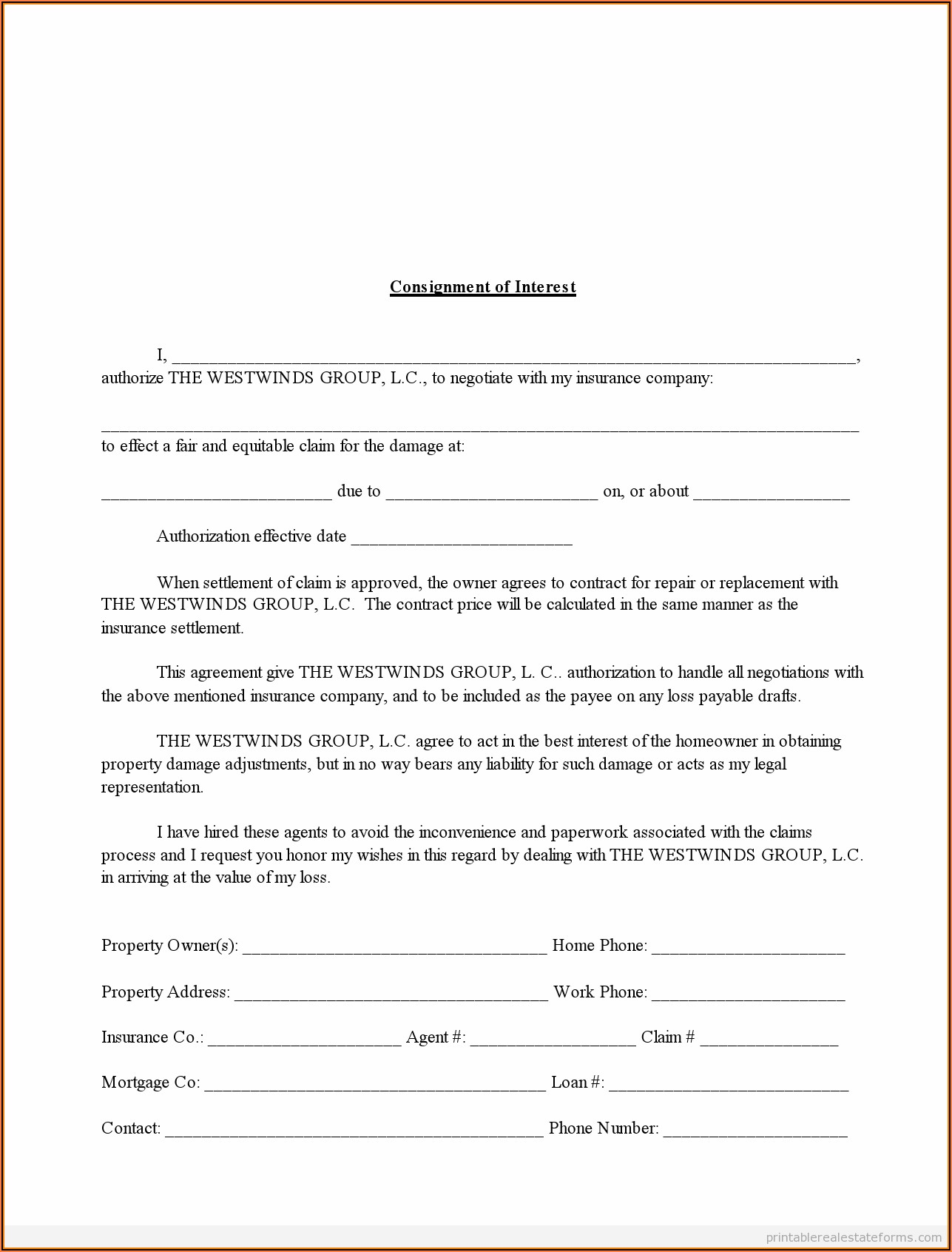Homeowners Insurance Claim Form Template