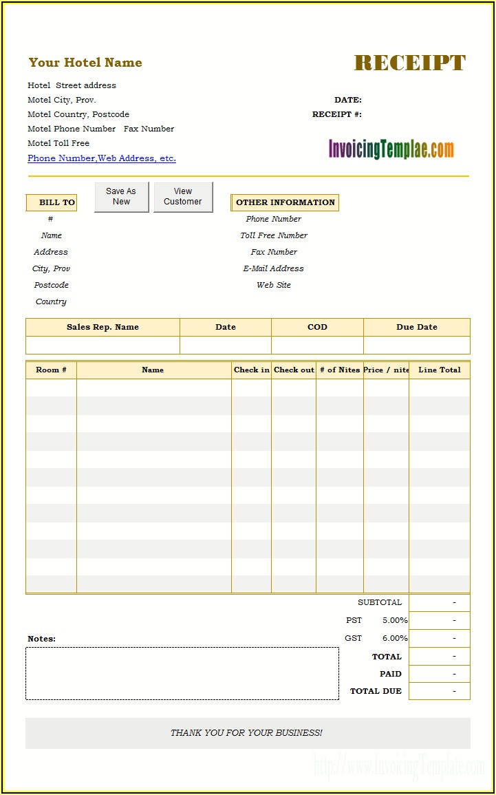 Hotel Invoice Template Word