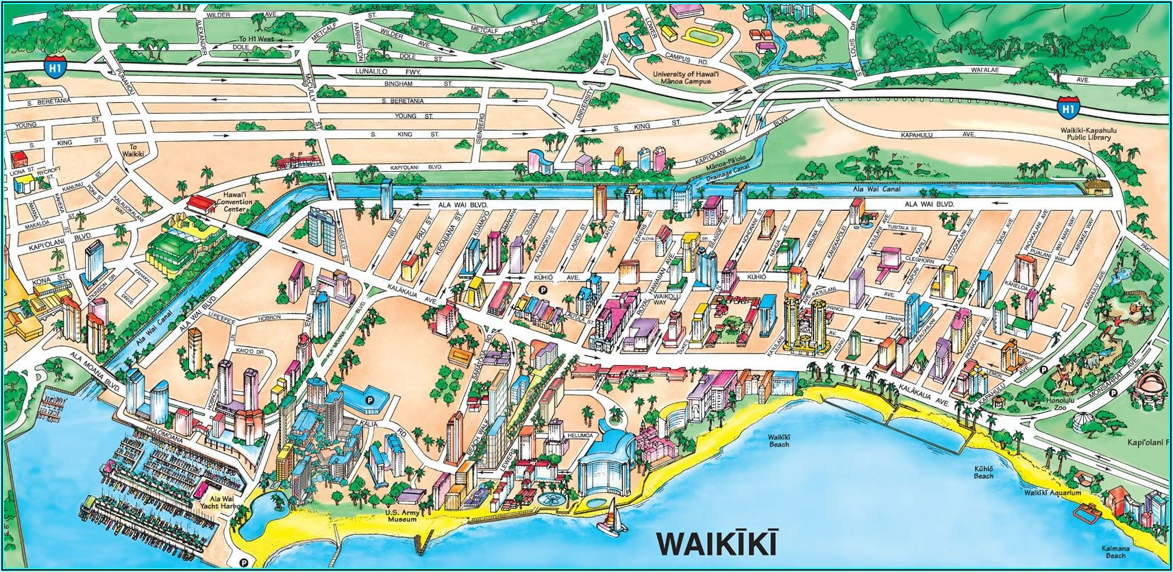 Hotels Along Waikiki Beach Map