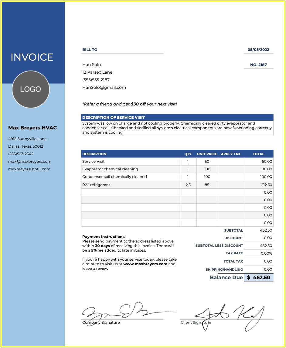 Hvac Invoices Templates