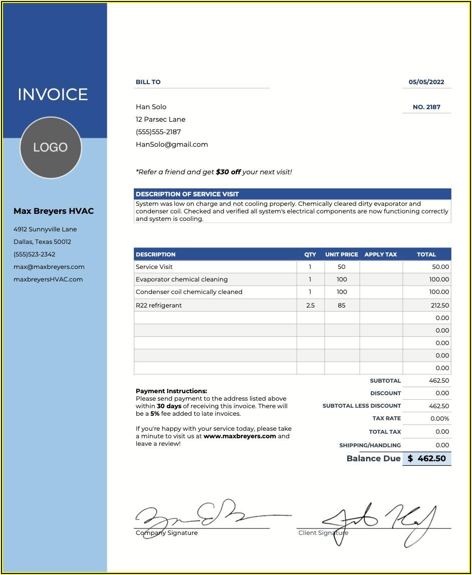 Hvac Invoices Templates