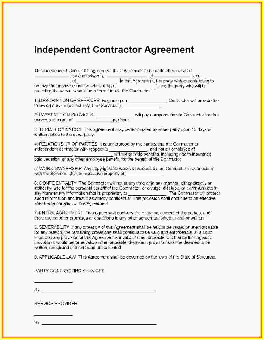 Independent Contractor Template Agreement