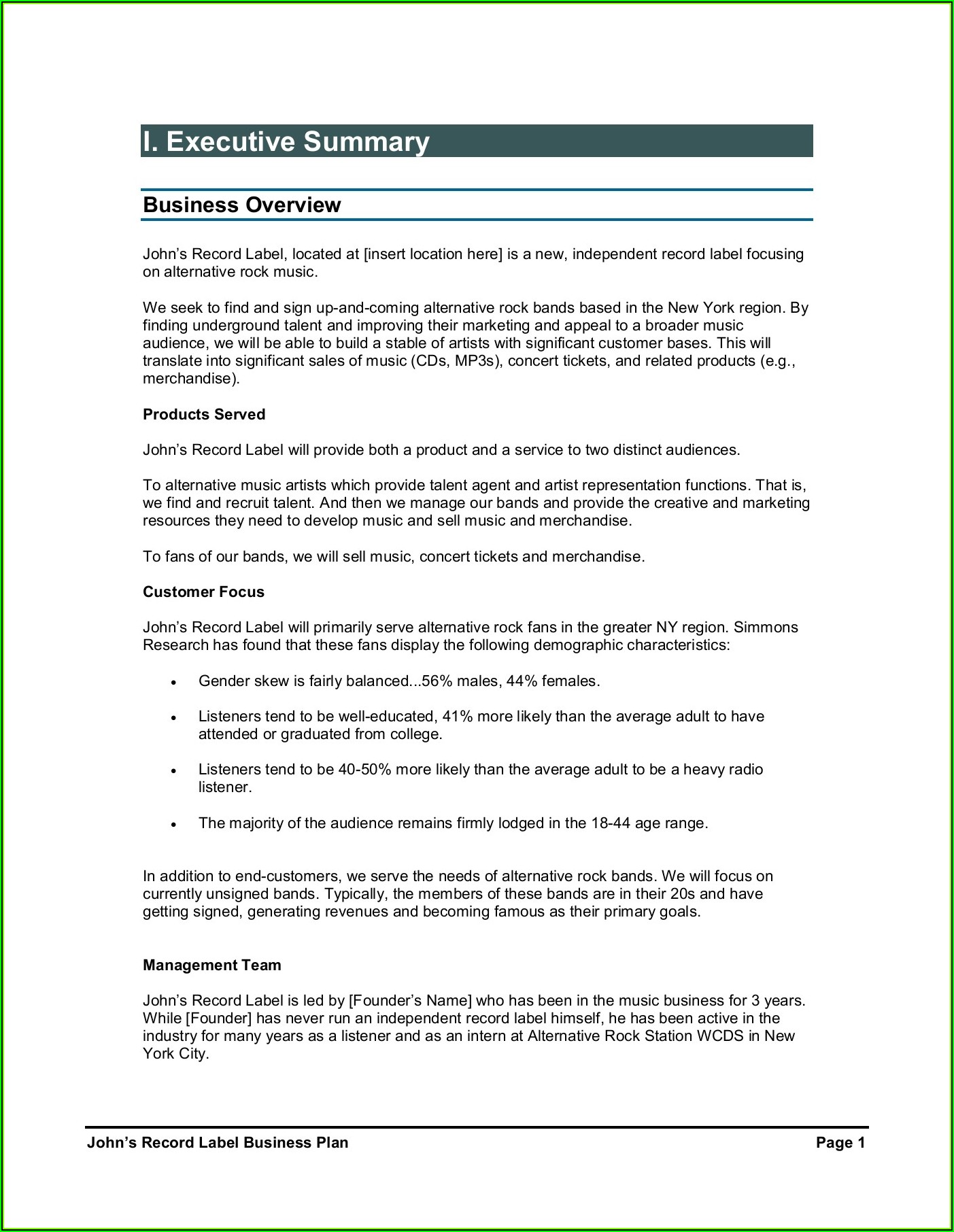 Independent Record Label Business Plan Template Pdf