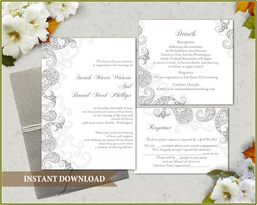 Indian Wedding Invitation Card Template Editable