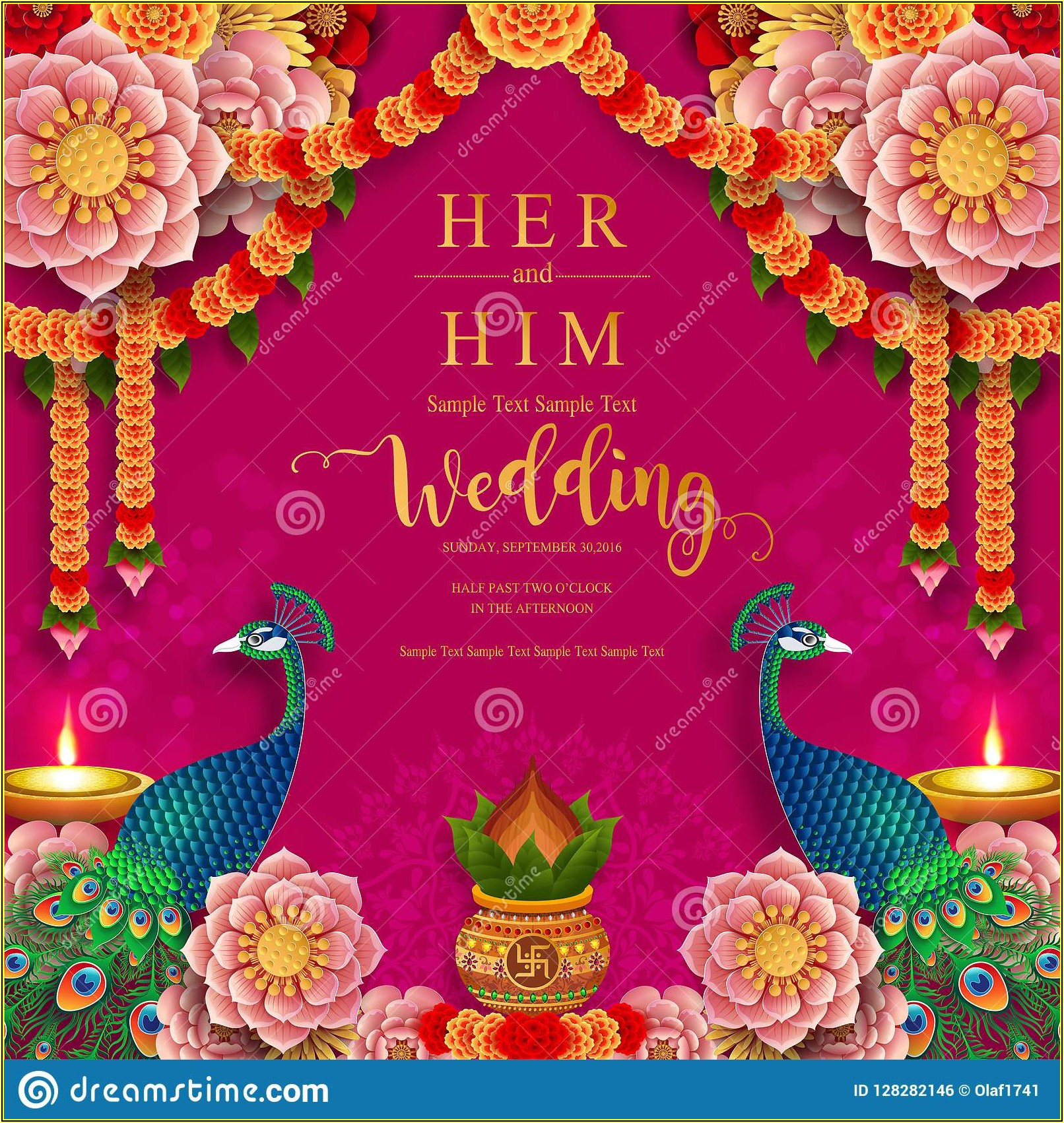 Indian Wedding Invitation Card Template With Gold Patterned And Crystals On Paper Color
