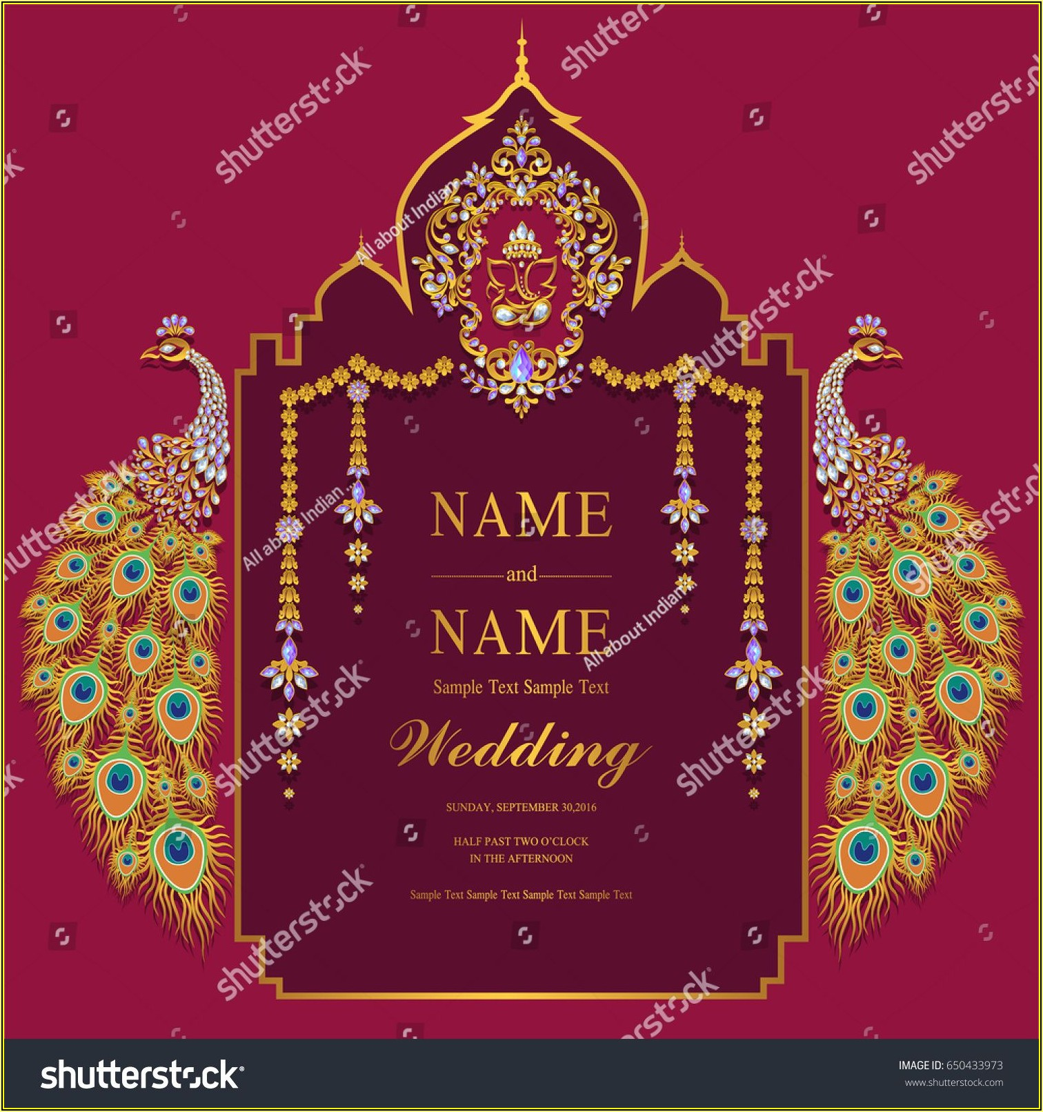 Indian Wedding Invitation Card Template With Gold Peacock Patterned And Crystals On Paper Color