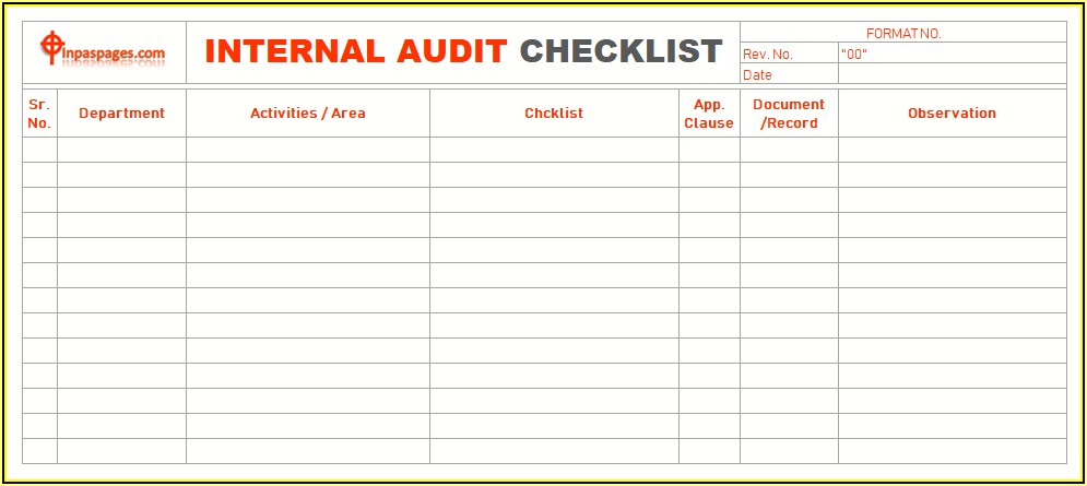 Internal Audit Checklist Excel Format