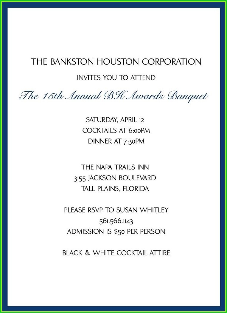 Invitation To Business Dinner Template