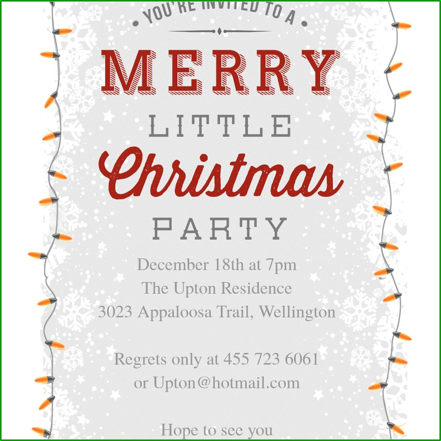 Invitation To Christmas Dinner Template