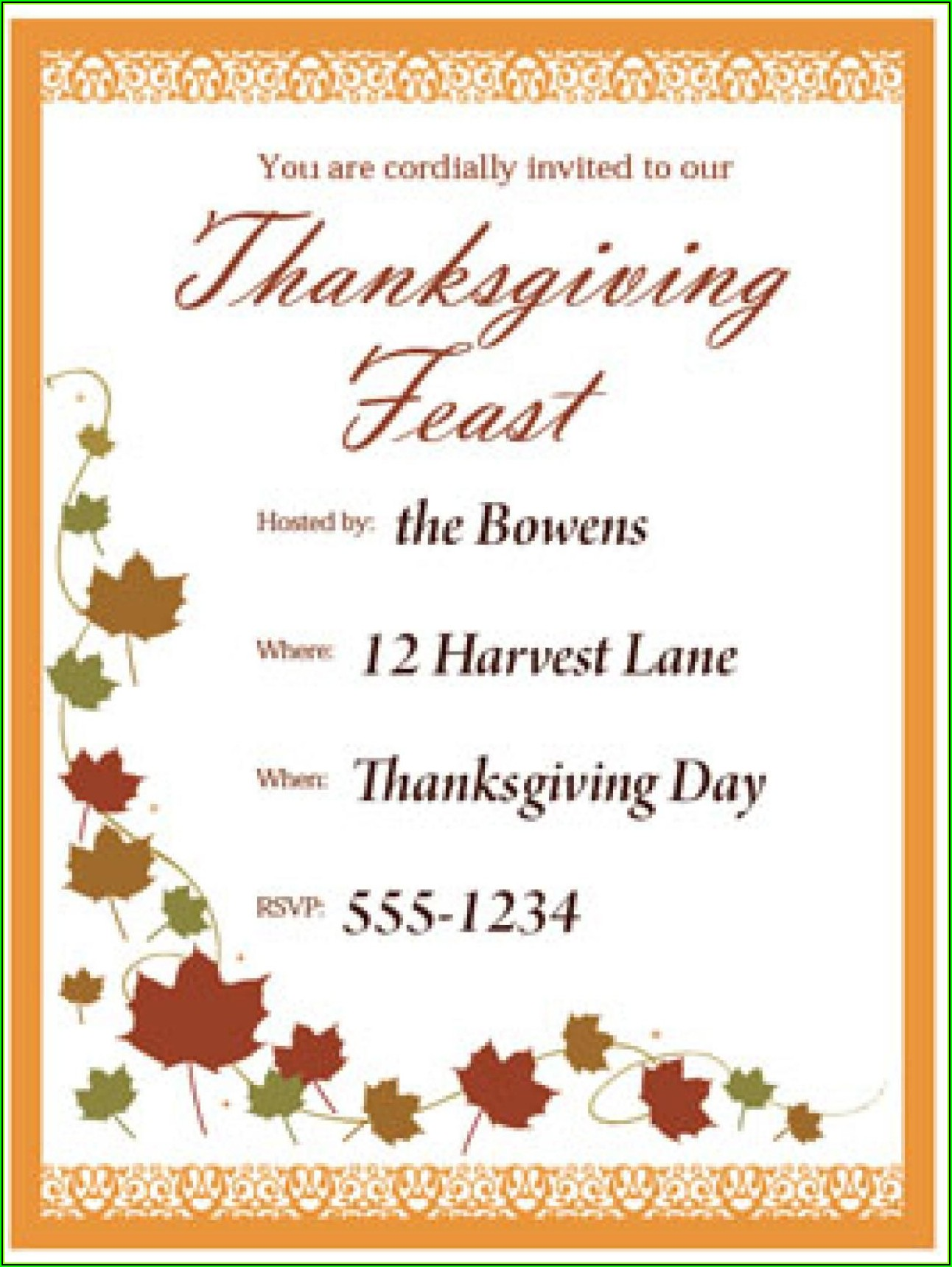 Invitation To Thanksgiving Dinner Template