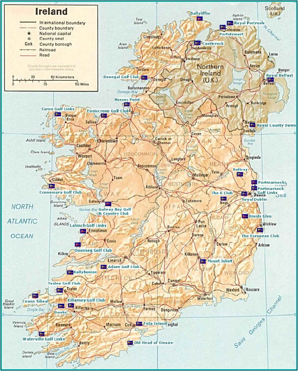 Ireland Golf Courses Map