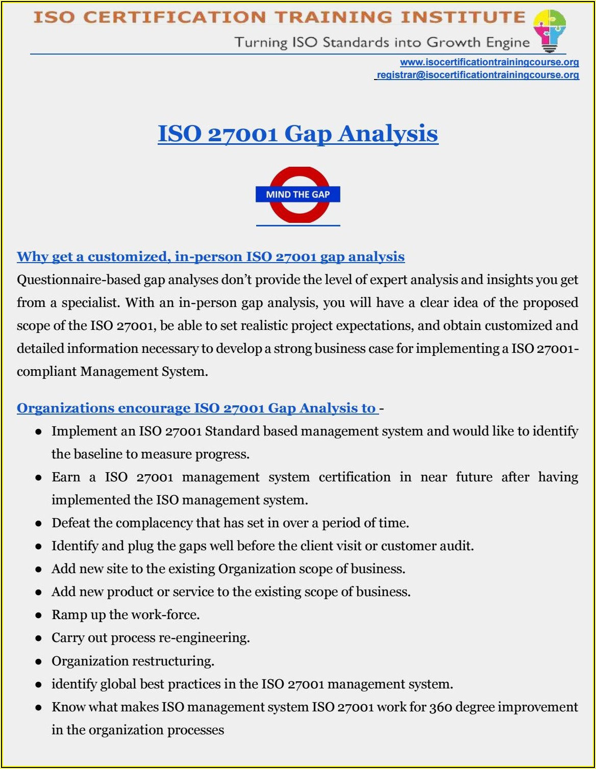 Iso 27001 Gap Analysis Template