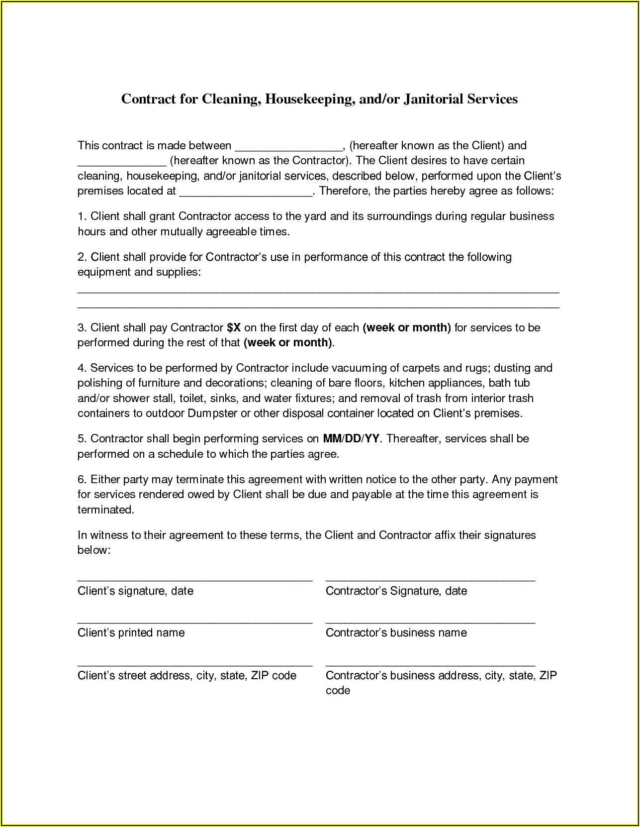 Janitorial Contract Templates Free