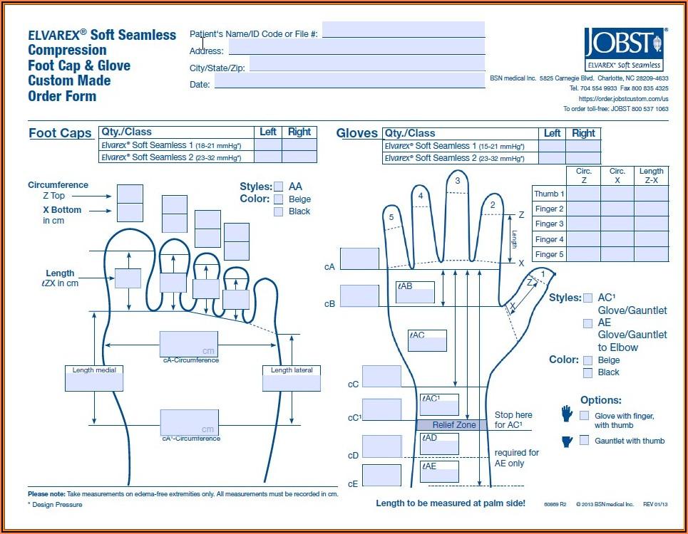 Jobst Elvarex Armsleeve Order Form
