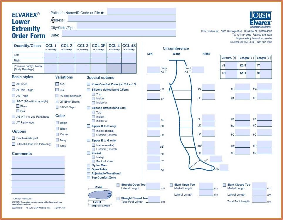 Jobst Elvarex Order Form Below Knee