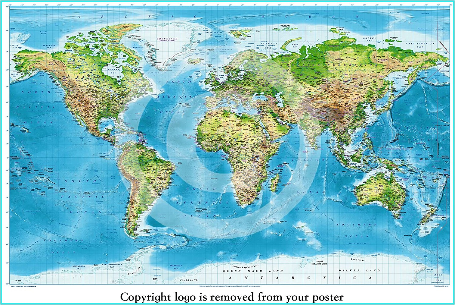 Laminated Map Of The World Poster